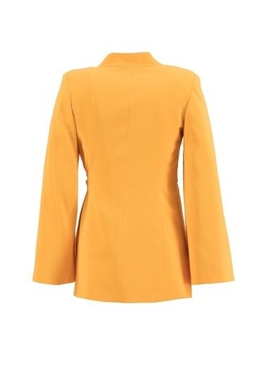 Setre Limon Sarı Kruvaze Pelerin Ceket Oranj
